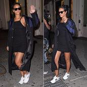 dress,rihanna,coat,sneakers,sunglasses,shoes