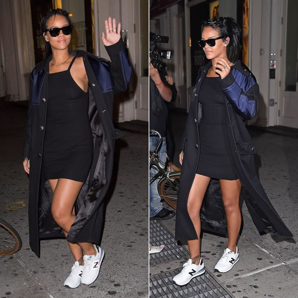 dress rihanna coat sneakers sunglasses shoes