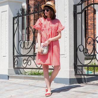 dress hat tumblr gingham gingham dresses midi dress red dress espadrilles bag sun hat sunglasses shoes