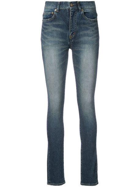 Saint Laurent jeans skinny jeans high women spandex cotton blue