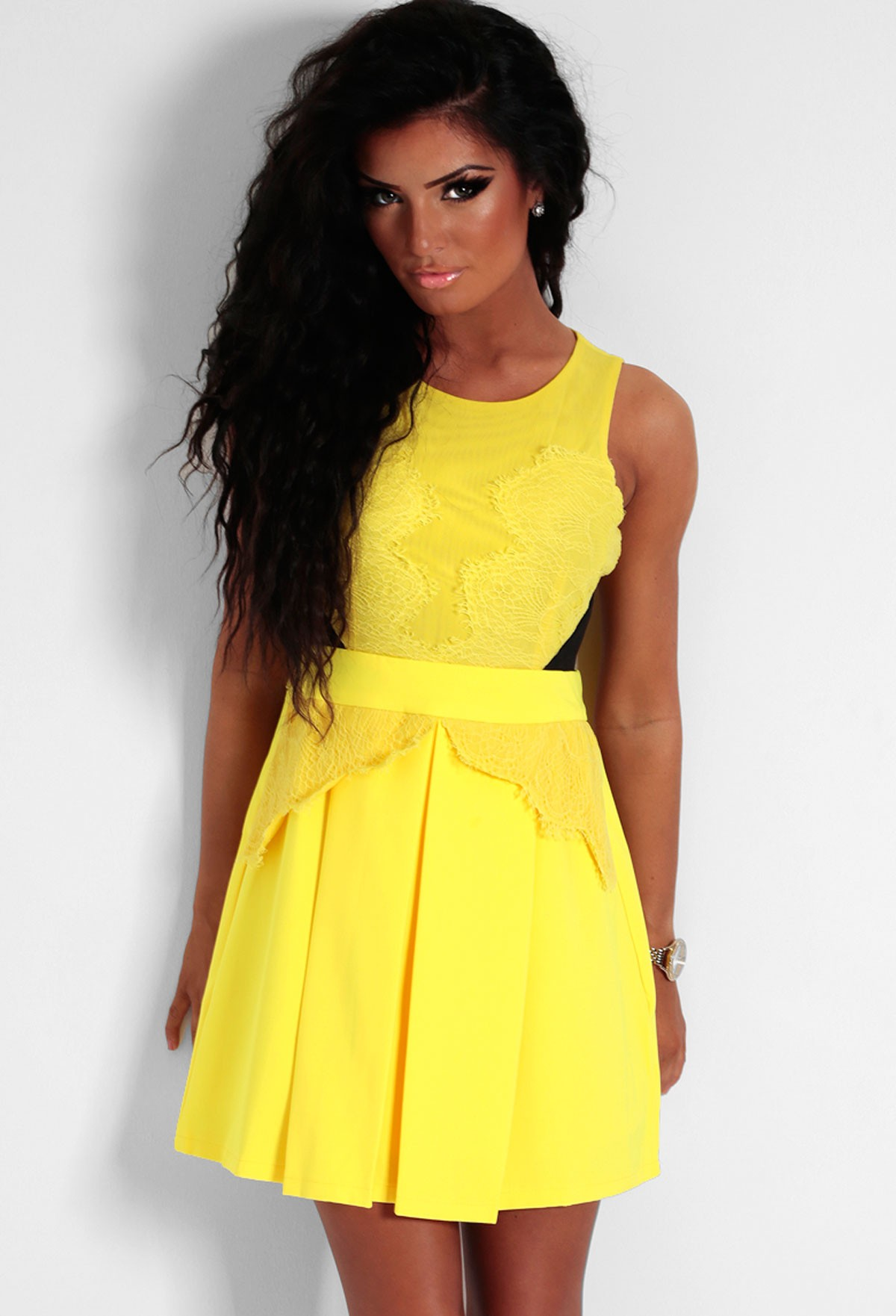 LUXE Yellow Lace Detail Skater Dress - Pink Boutique