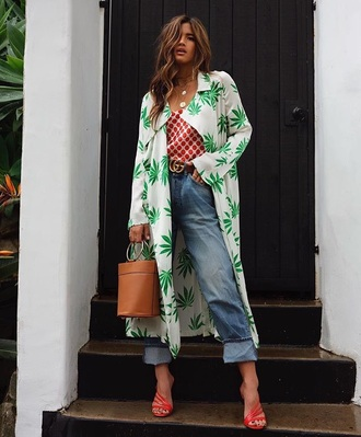coat printed coat top red top blue jeans cuffed jeans sandals jeans denim spring outfits