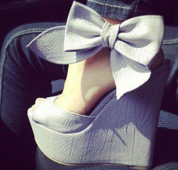 shoes wedges leather wedges bow high heels