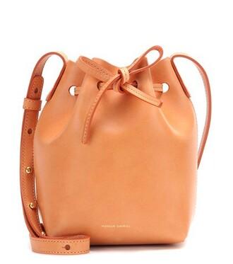 mini bag bucket bag leather orange