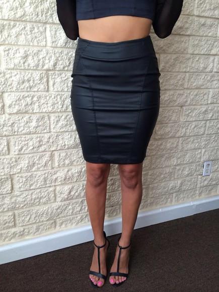 black skirt leather skirt pencil skirt