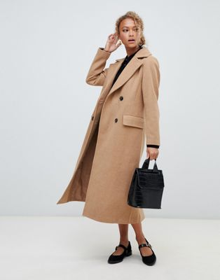 New Look tailored maxi coat in camel at asos.com