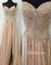 Champagne chiffon beaded long prom dresses, formal dresses