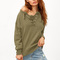 Army green lace up drop shoulder sweater -shein(sheinside)