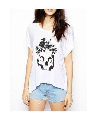 t-shirt white tee white t-shirt black and white tee skull print tshirt skull and roses short sleeve tee www.ustrendy.com