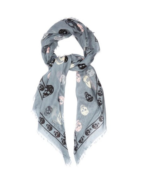 skull chiffon scarf print silk grey