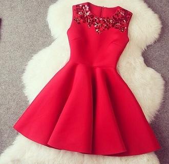 red dress skater dress sequin dress holiday dress
