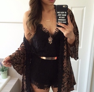 blouse jumpsuit phone cover romper lace black lace eyelash lace lace romper black lace romper gold kimono summer outfits party jewels dreamcatcher necklace dreamcatcher necklace iphone jewelry hipster girly women gorgeous pants fashionista gorgeous style stylish trendy cute summer tumblr cool girl instagram pretty beautiful date outfit warm clothes black oriental oriental print event accessory tumblr girl on point clothing cardigan belt boho boho jewelry layered gold necklace bar necklace