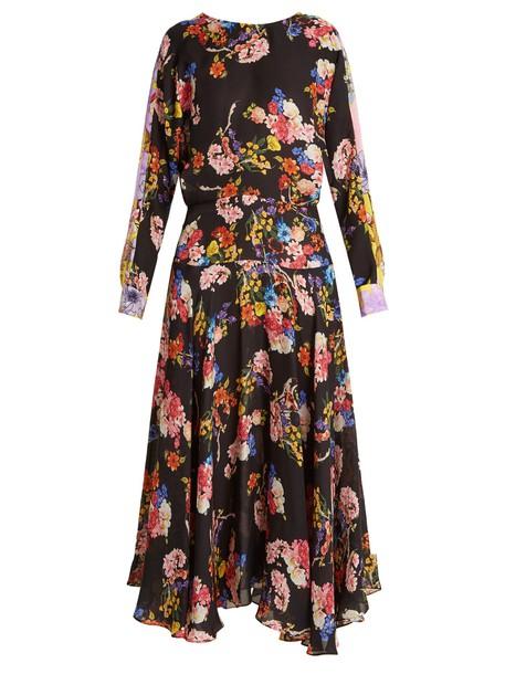 PREEN BY THORNTON BREGAZZI dress silk dress floral print silk black