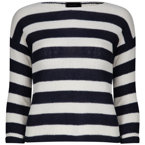 Club L Women's Striped Box Knitted Jumper - Navy/White