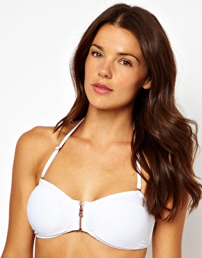 River Island | River Island Dakota Zip Bandeau Bikini Top at ASOS