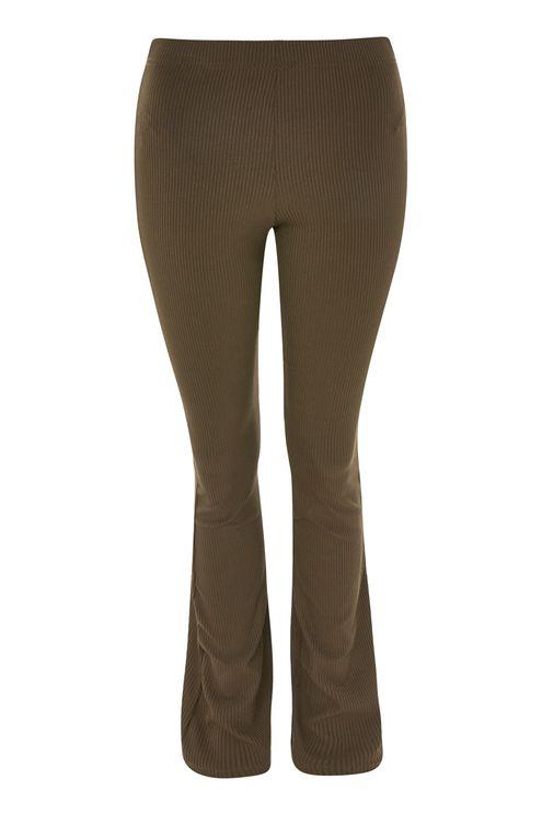 Skinny Rib Flared Trousers