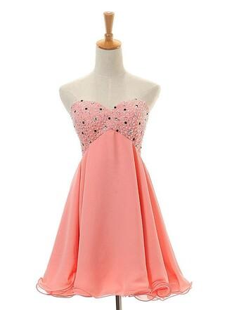 dress peach homecoming dress beaded dress chiffon dress lace up homecoming dress