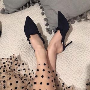 Black Suede Ruffle Stiletto Heel Mule