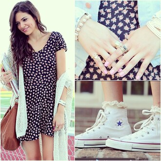 dress floral bethany mota macbarbie07 navy sweater underwear floral dress