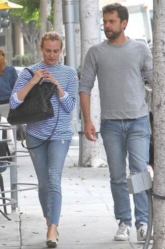 top sweater stripes striped top diane kruger ballet flats jeans
