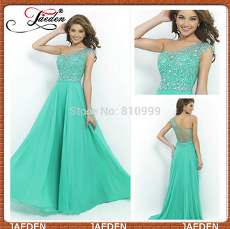 one shoulder green dress crystals chiffon dress sexy evening dresses elegant prom dresses