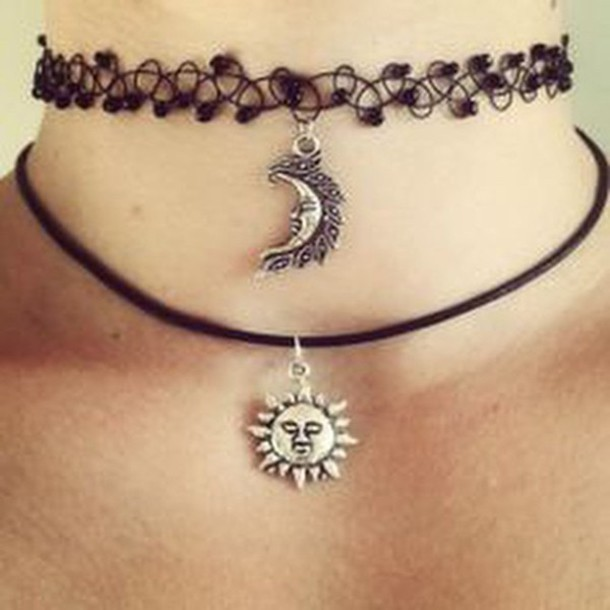 jewels choker necklace necklace moon necklace choker