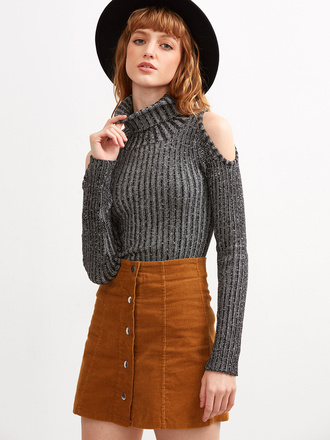 sweater grey turtleneck fall outfits long sleeves fashion style sheinside
