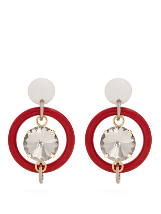 embellished earrings red jewels