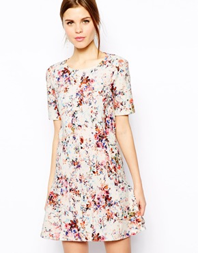 Warehouse | Warehouse Textured Floral Flippy Dress at ASOS