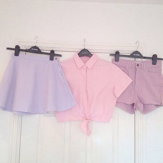 shirt skirt shorts pastel crop tops pink purple cute sweet pastel grunge pastel pink button up circle skirt petite petit and sweet couture nice pretty adorable outfit