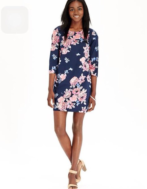 dress floral three-quarter sleeves casual