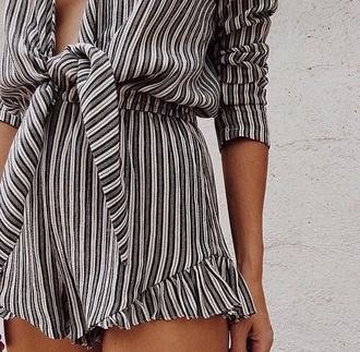 jumpsuit black stripe romper stripes fashion style boho chic frilly trim ruffle black and white cute
