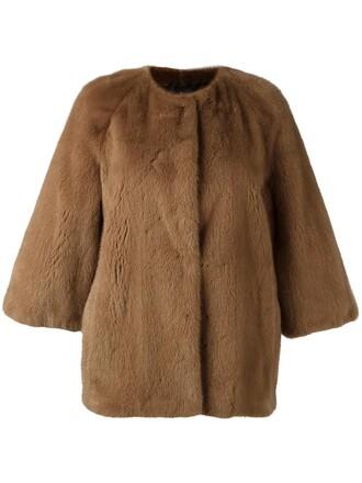 jacket fur women silk brown
