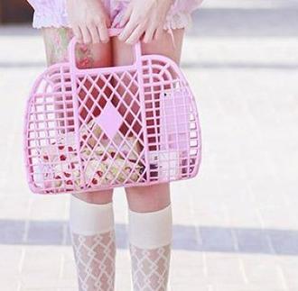 bag cute kawaii kpop jpop kawaii bag pink pastel 70s style 60s style retro vacation look beach lovely girly girl women lolita anime pale harajuku kawaii accessory