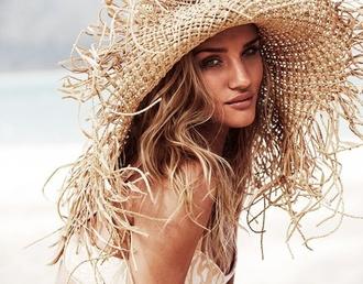 hat straw hat summer beauty summer holidays beach wedding sun hat rosie huntington-whiteley wavy hair blonde hair long hair