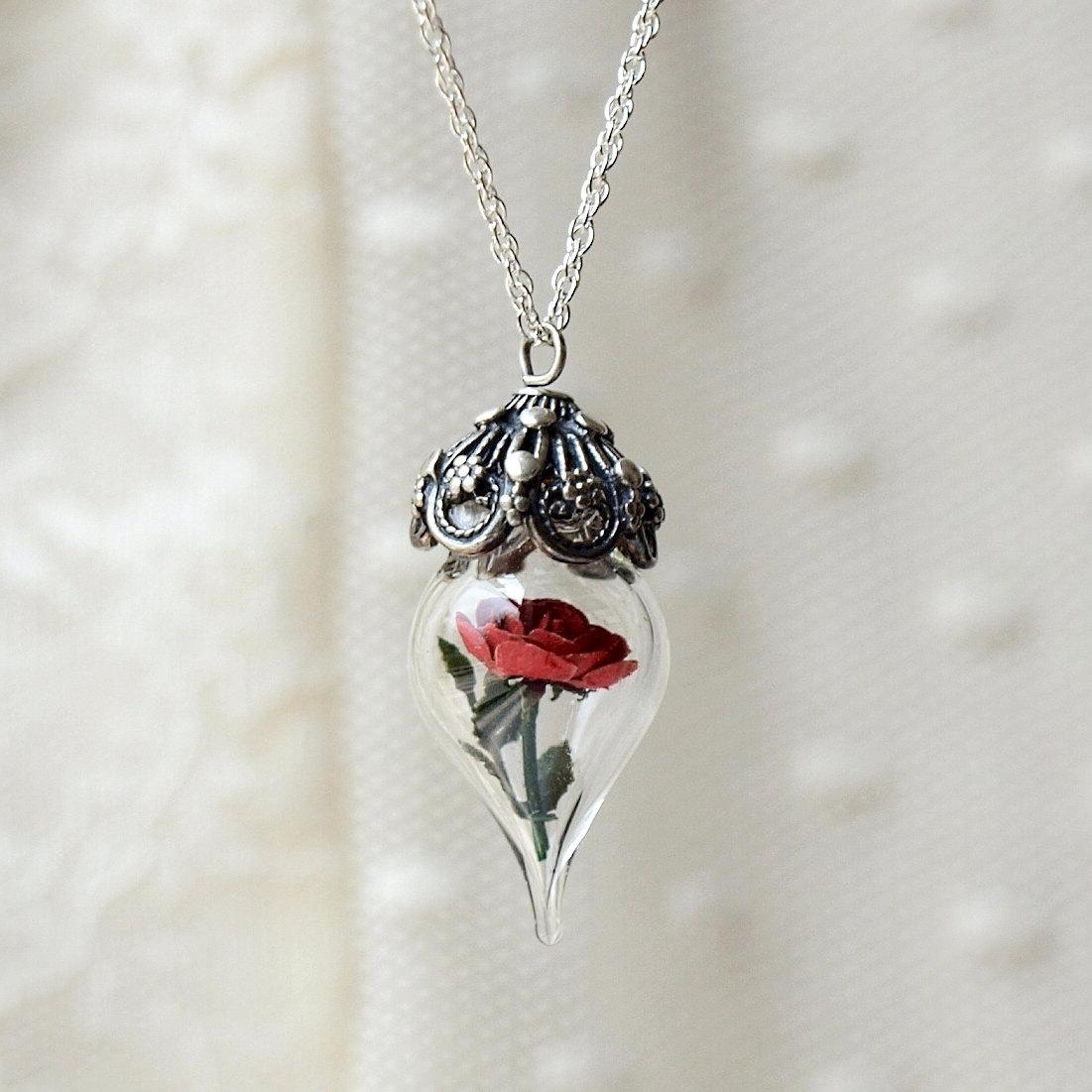 Classic Red Rose Flower Terrarium Glass Vial Necklace