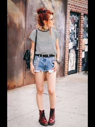 t-shirt top stripes striped tshirt striped top cropped