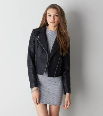 AEO Vegan Leather Moto Jacket, Black | American Eagle Outfitters