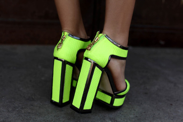 Shoes: fluo, green, lime, black outline, zip, high heels, high ...