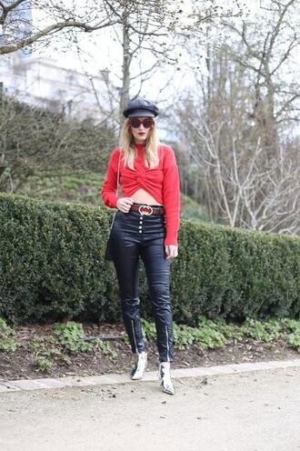 from brussels with love blogger pants sweater belt bag shoes red top black pants ankle boots spring outfits