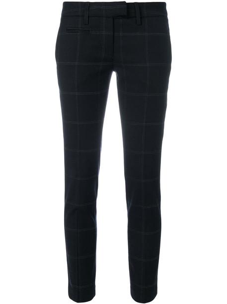 DONDUP cropped women spandex cotton black wool grid pants