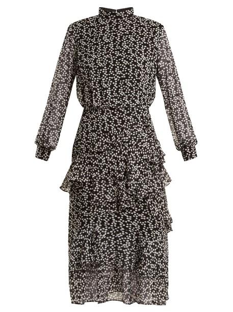 Saloni dress silk dress ruffle print silk white black