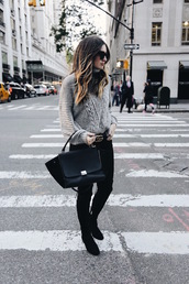 somewherelately,blogger,sweater,jeans,shoes,belt,bag,sunglasses,beige coat,metallic clutch,clutch,grey jeans