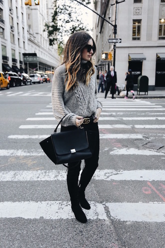 somewherelately blogger sweater jeans shoes belt bag sunglasses beige coat metallic clutch clutch grey jeans