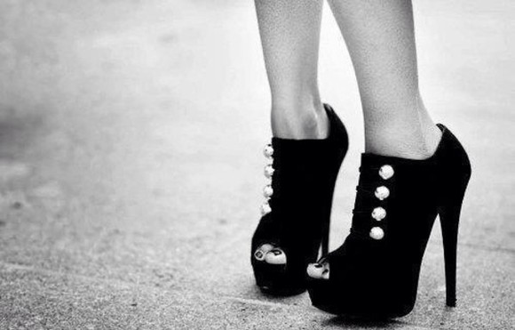 buttons shoes high heels black