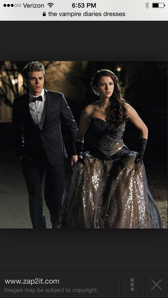 black and gold dress from the vampire diaries the vampire diaries prom elena gilbert prom dress prom gown nina dobrev dress ball gown dress