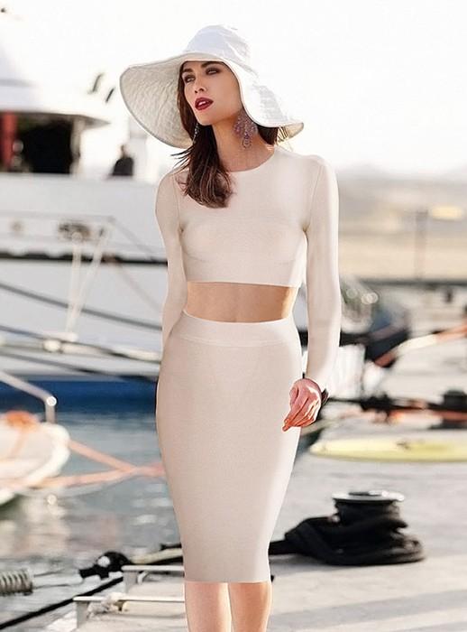 Bqueen Apricot Long Sleeve Sets Bandage Dress HL081