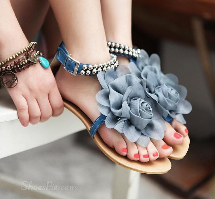 Colorful Flat Sandals Women Sandals with Flower