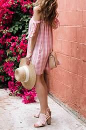 dress,hat,tumblr,pink dress,mini dress,off the shoulder,gingham,sun hat,bag,nude bag,sandals,sandal heels,high heel sandals,shoes,gingham dresses