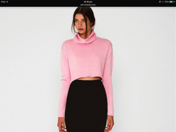 Sweater: pink, fluffy, turtleneck, girl, pretty, crop, knit ...